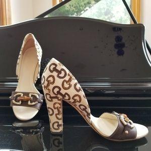 GUCCI Horsebit Print Canvas Heeled Sandals
